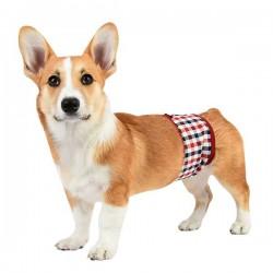 Bandeau anti-pipi à carreaux pour chien mâle
