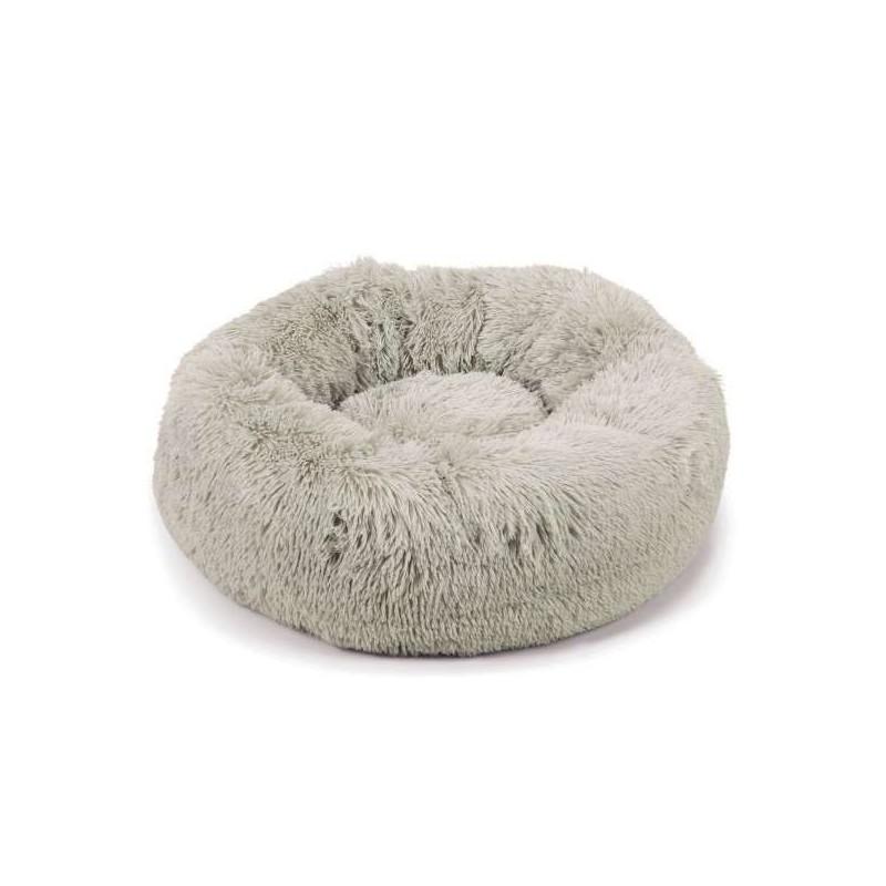 Corbeille Donut moelleux grise pour chien et chat