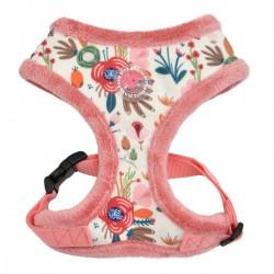 Harnais fourré Pinka Fleur rose pour chien