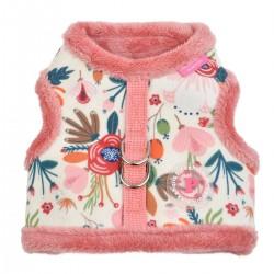 Harnais veste fourré Pinka Fleur rose pour chien