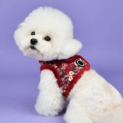 Harnais veste fourré Gianni rouge pour chien