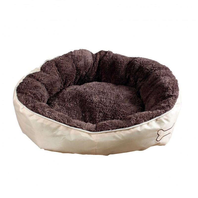 Corbeille peluche marron pour chien