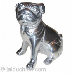 Statuette décorative aluminum chien Carlin