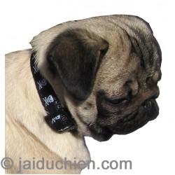 Collier nylon noir tête de mort pour chien